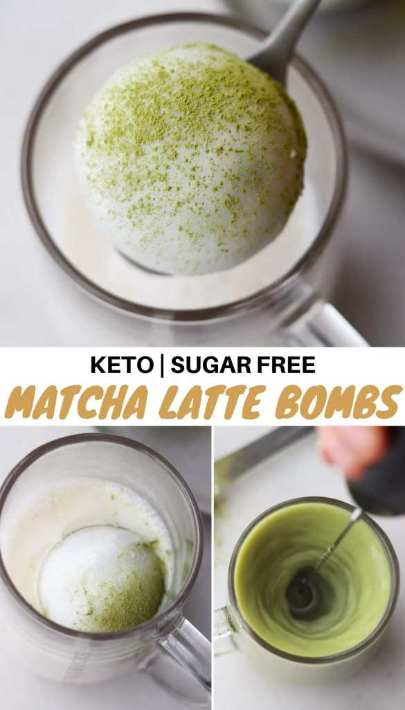 """Graphic for Pinterest with photos of the finished latte bombs and the words """"Keto, Sugar Free Matcha Latte Bombs."""""""