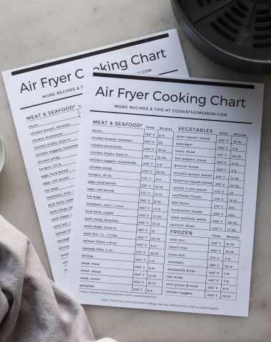 Two printed air fryer cooking charts on a white marble board beside a towel and an air fryer basket.