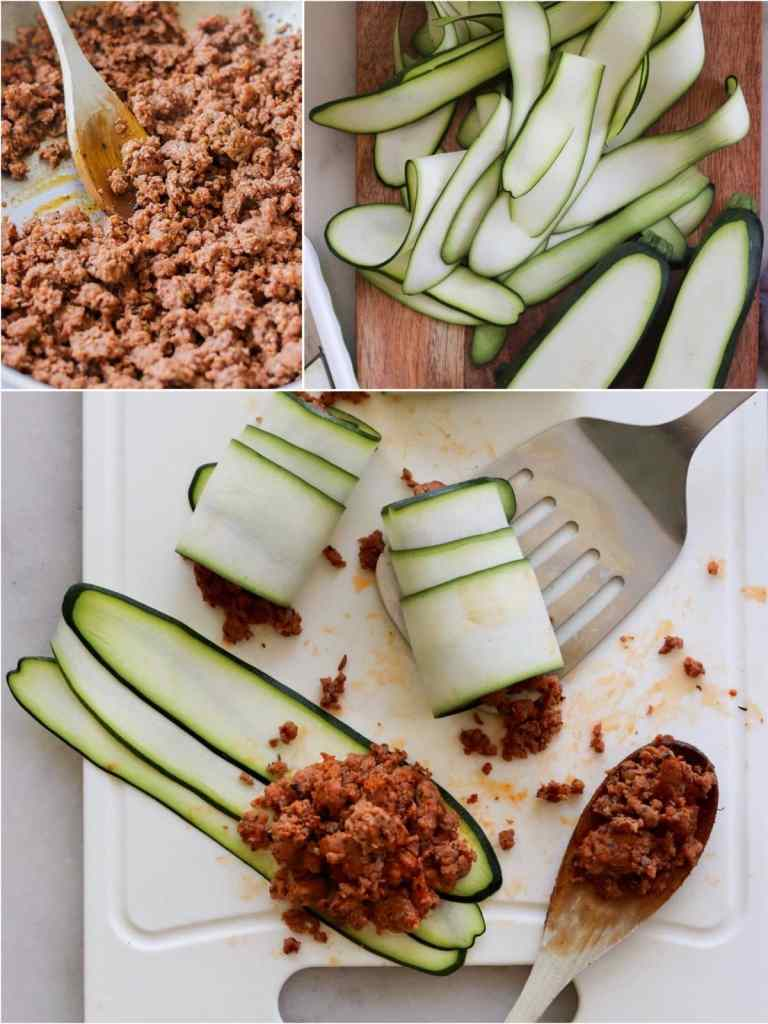 Process collage showing sausage cooking in a skillet, sliced zucchini, and the sausage mixture added to layered zucchini slices, rolled up.