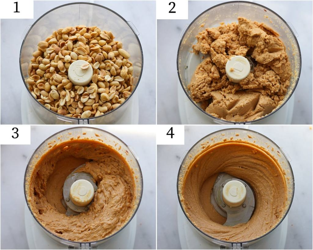 Progression in four steps showing the peanut butter being blended from whole peanuts to a creamy consistency in the food processor.