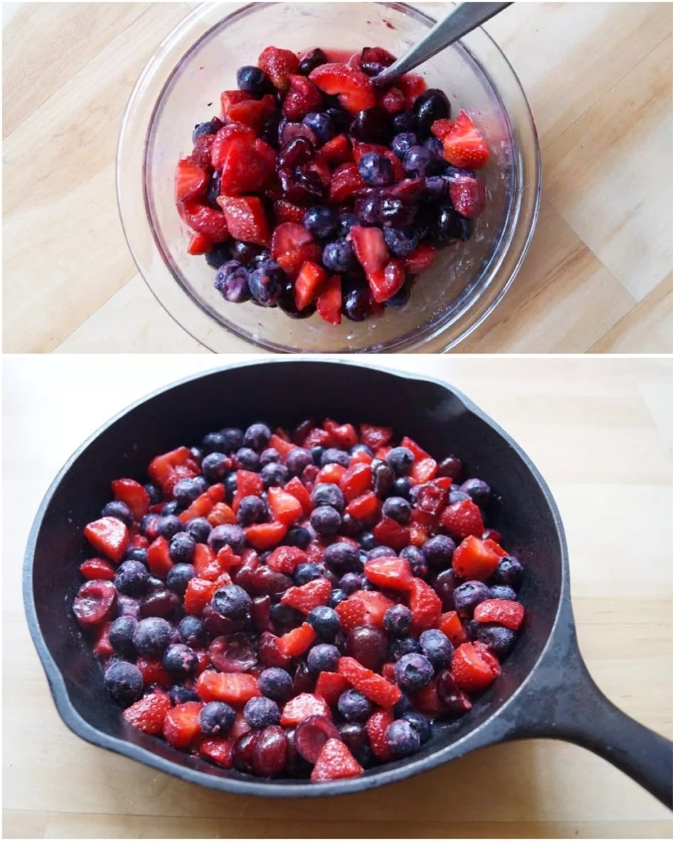 Collage of the berries mixed together in a bowl, then added to a small cast iron skillet.