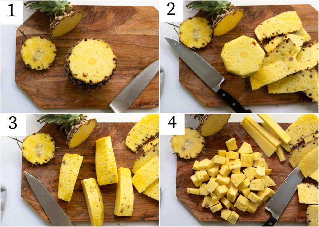 Step by step numbered collage showing the process of how to cut a pineapple.
