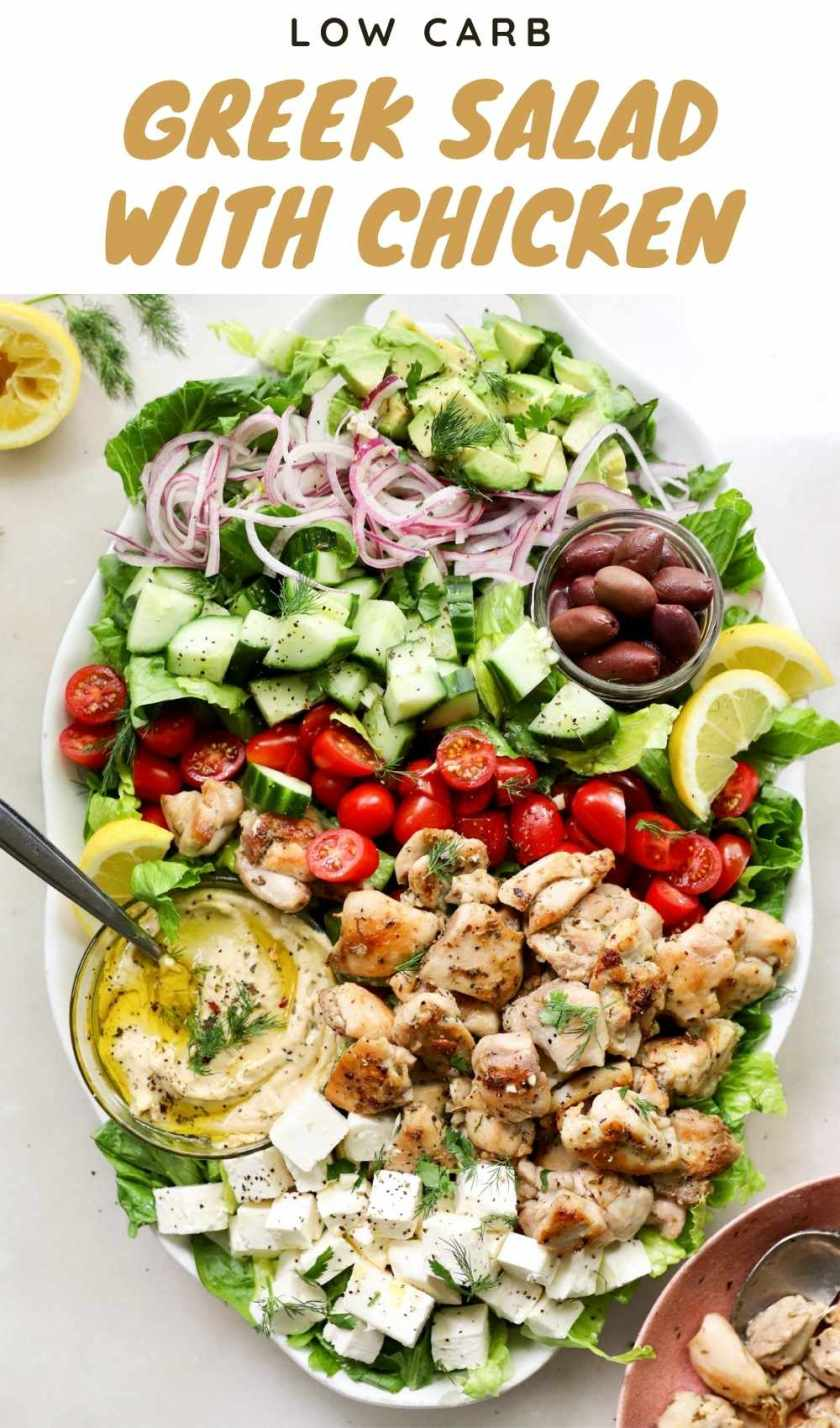 """Pinterest graphic with the text """"Low Carb Greek Salad with Chicken, Low carb"""" and a photo of the finished dish."""