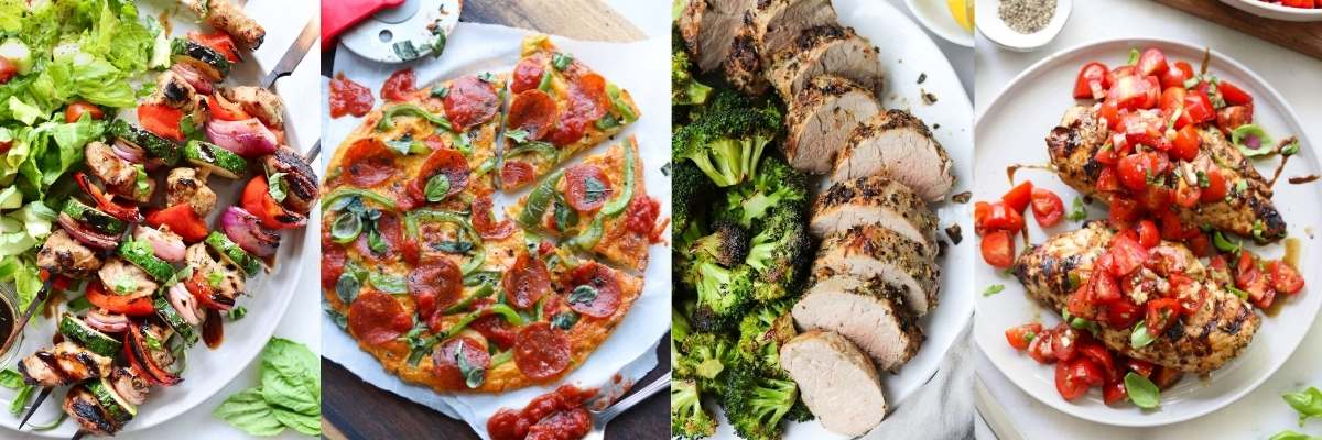 Collage of four recipes that use Italian seasoning.