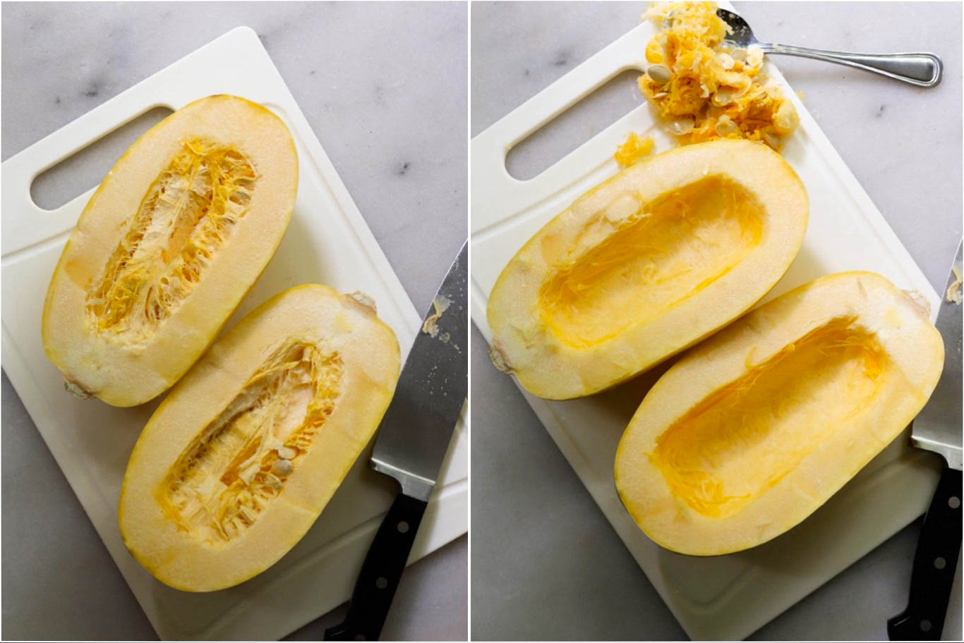 Process collage with the squash on a cutting board cut in half, then with seeds scooped out.