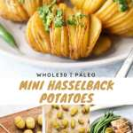 """Collage of process and finished recipe shots with text, """"Whole30, Paleo Mini Hasselback Potatoes,"""" for Pinterest."""