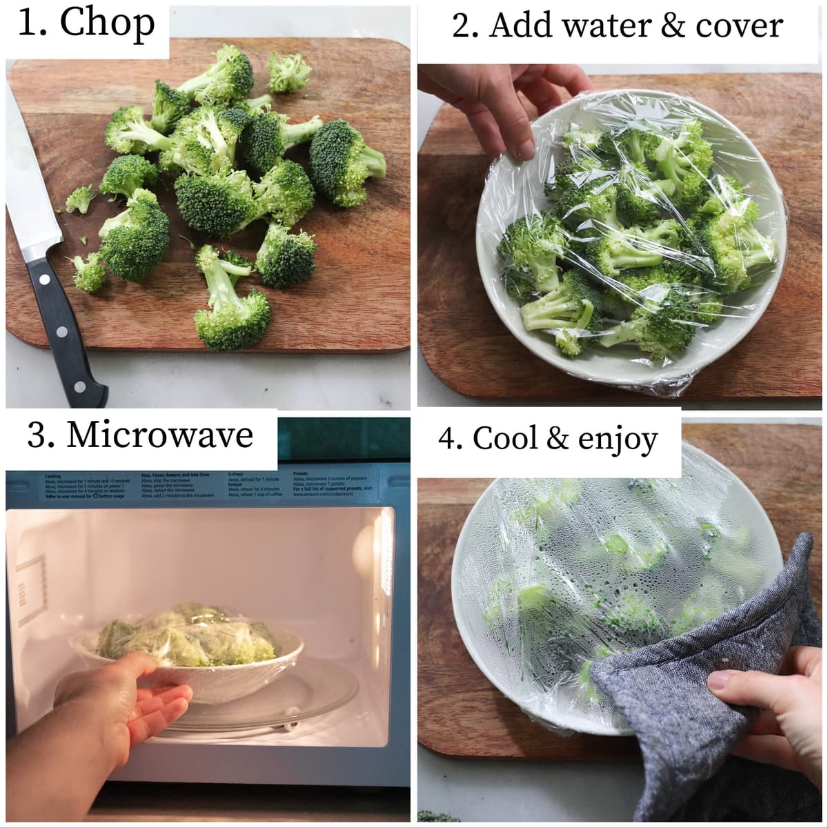 Step by step process collage showing the broccoli chopped, then added to a bowl and covered, then in the microwave, then cooked.