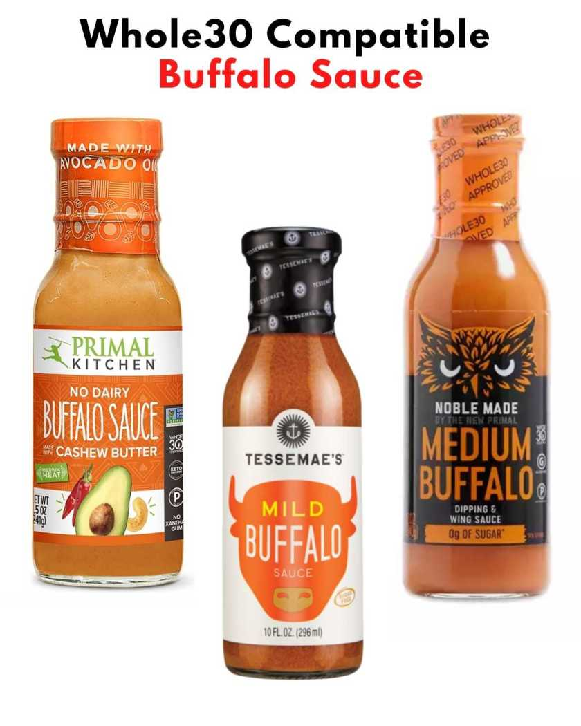 """Collage of images of jars of buffalo sauce with the text, """"Whole30 Compatible Buffalo Sauce."""""""