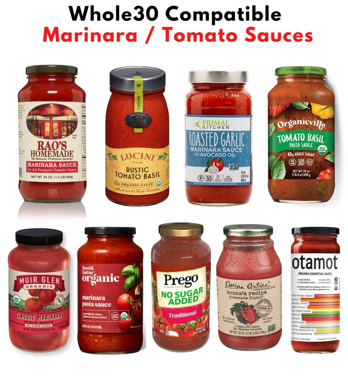 """Collage of images of jars of marinara sauce with the text, """"Whole30 Compatible Marinara/Tomato Sauces."""""""