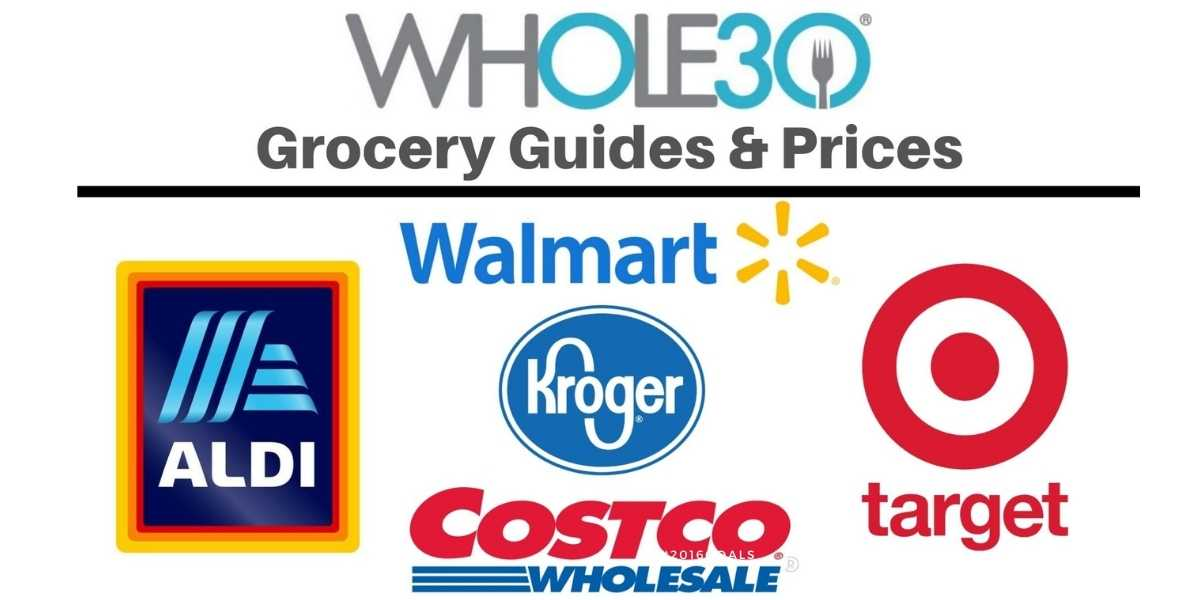 """Collage of grocery store logos with the text, """"Whole30 Grocery Guides & Prices."""""""