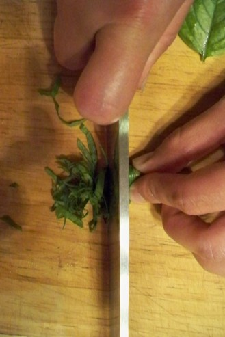 Slice rolled up leaves