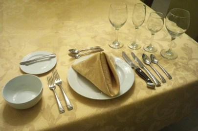 This is about the most elaborate table I can envision for an at home meal.