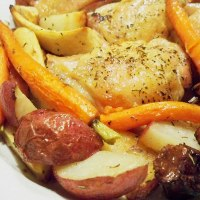 Roasted Chicken Thighs with Mushrooms and Root Vegetables