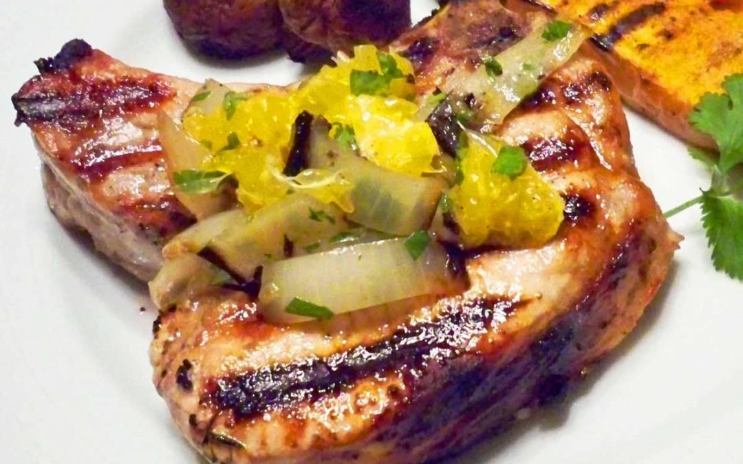 Brined Grilled Pork Chops with Honeybell Orange Relish