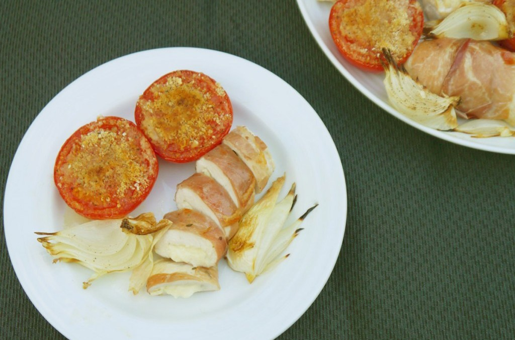 Chicken & Feta Wrapped in Prosciutto with Baked Onions & Tomatoes