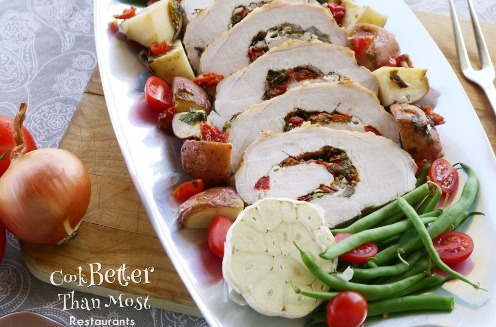Caprese Stuffed Pork Roast and Potatoes