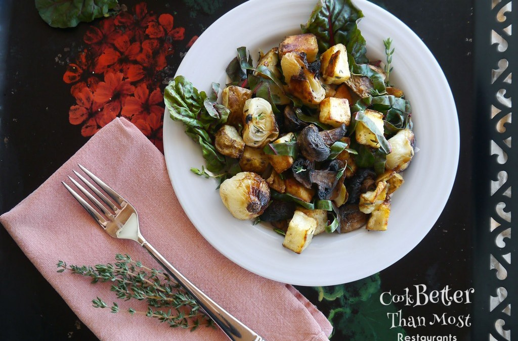 Wilted Swiss Chard Salad with Roasted Potatoes and Cipollini Onions