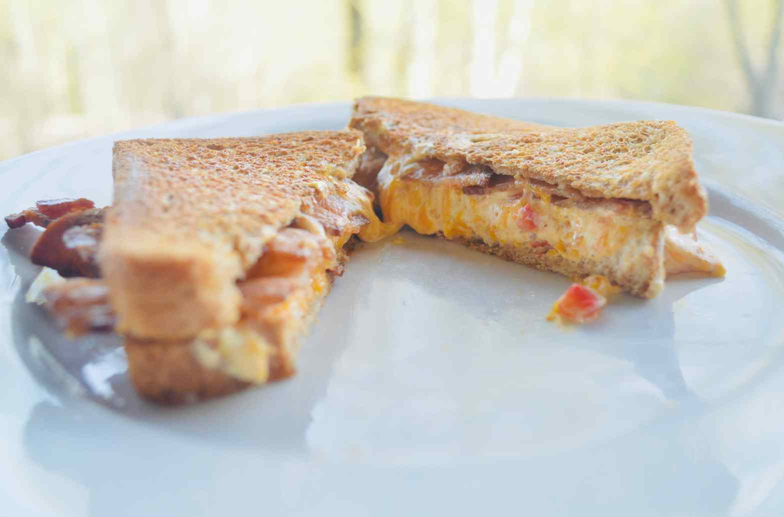Grilled Pimento Cheese with Bacon Sandwich
