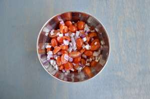 cherry tomatoes and diced red onion