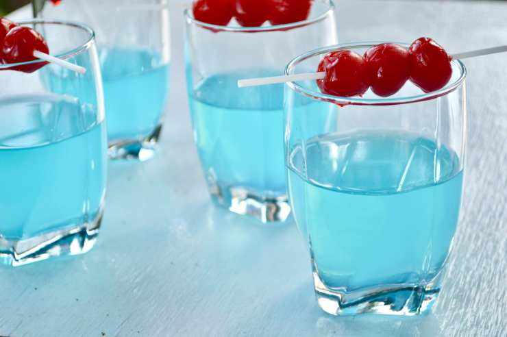firework cocktail with moonshine cherries