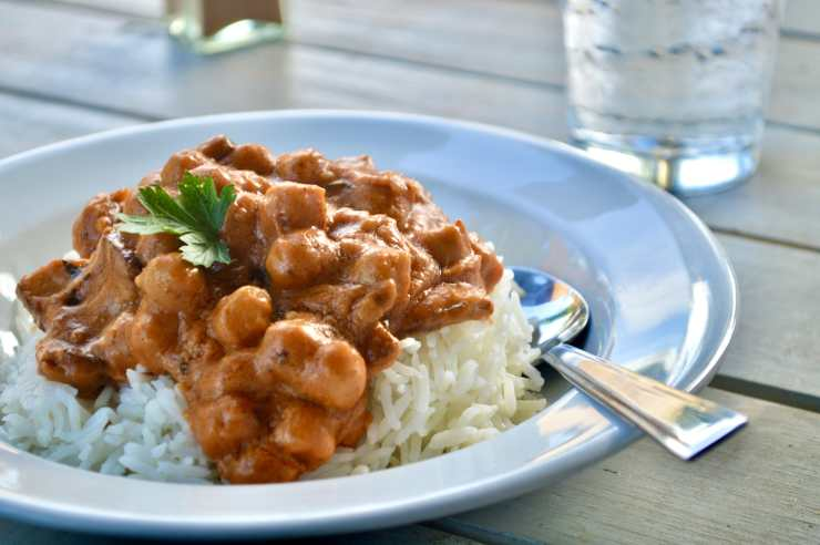 red curry chickpeas with bacon