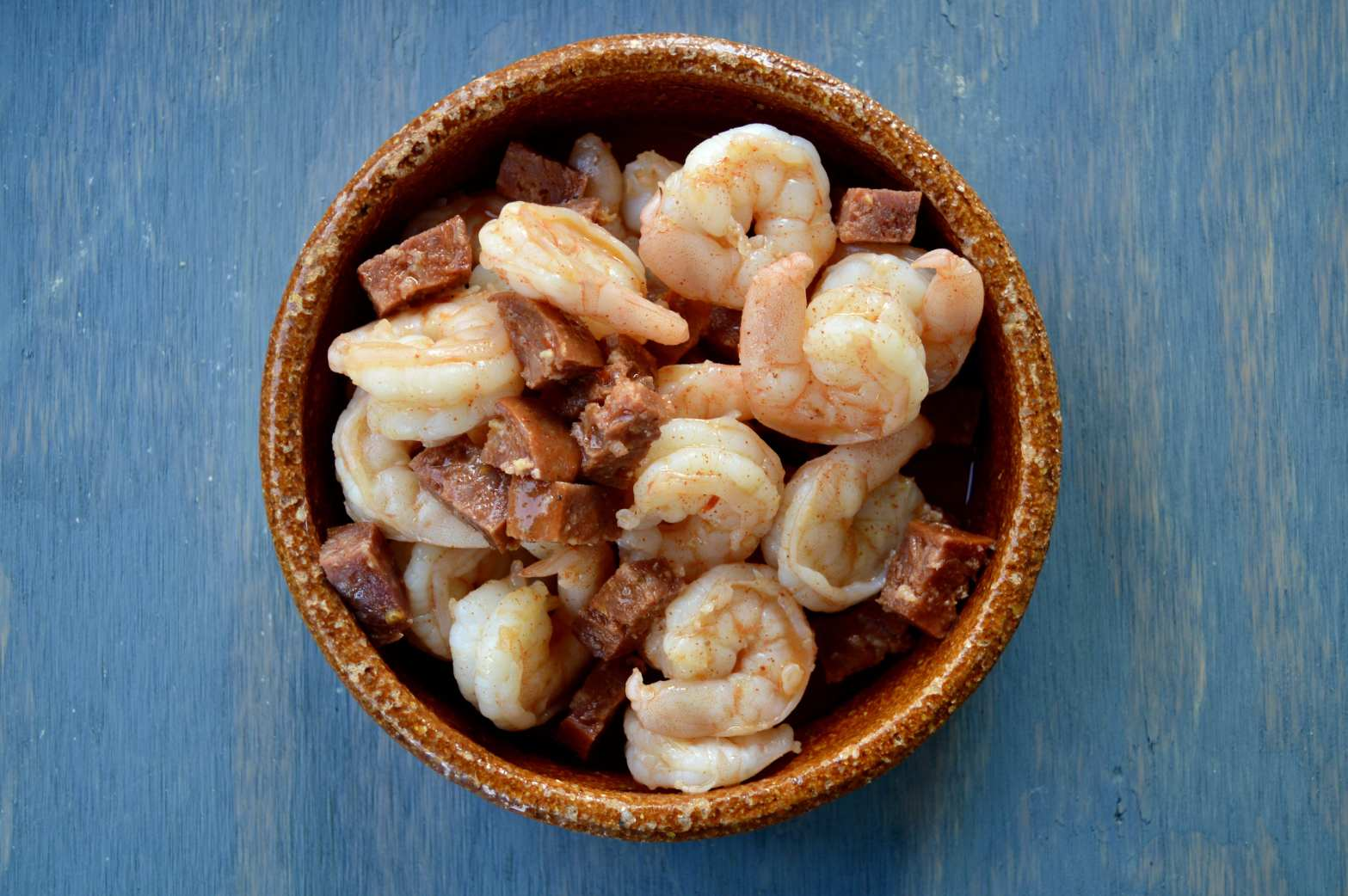 spanish chorizo shrimp in sherry sauce