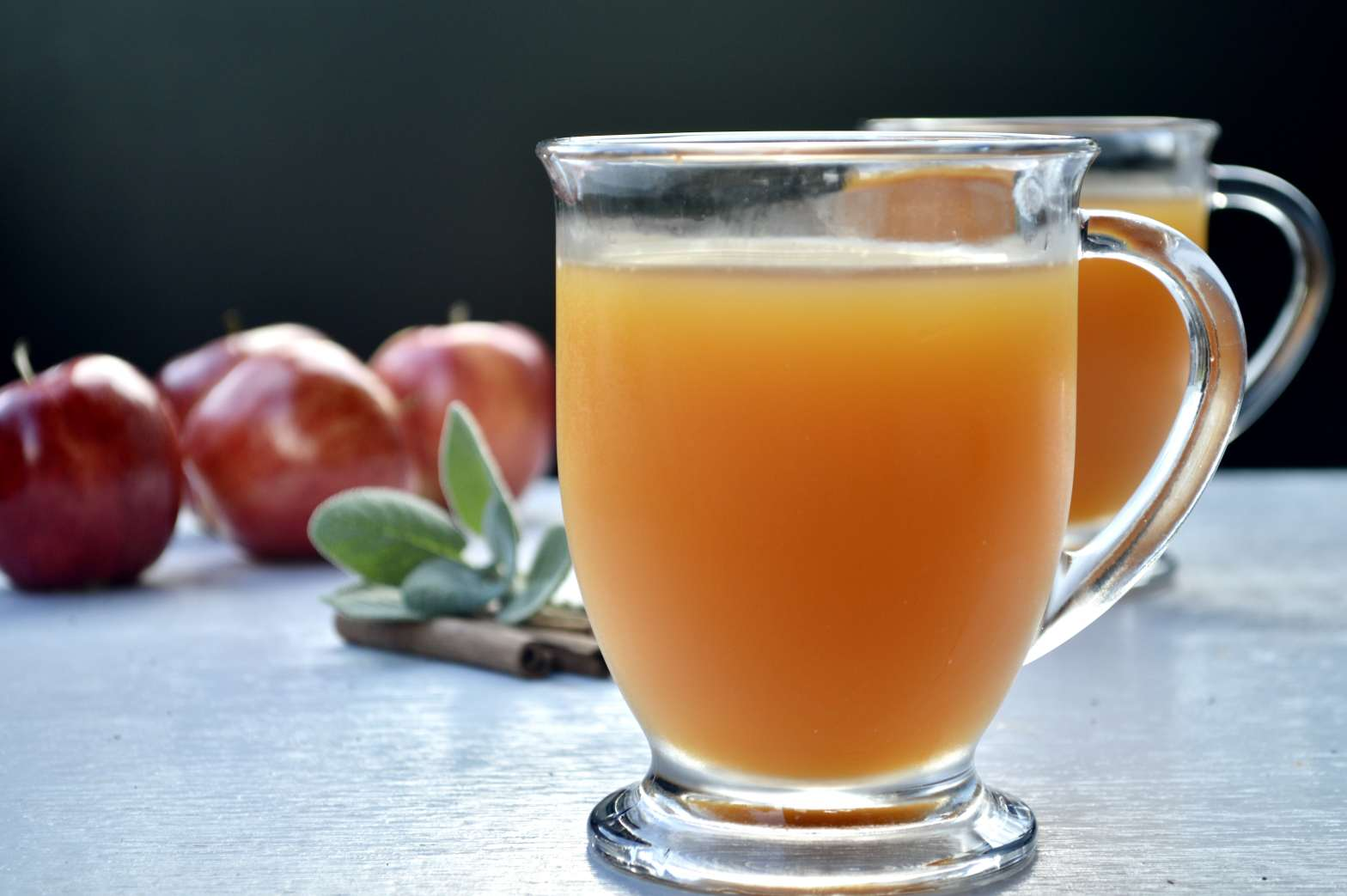 warm apple honey and sage cocktail