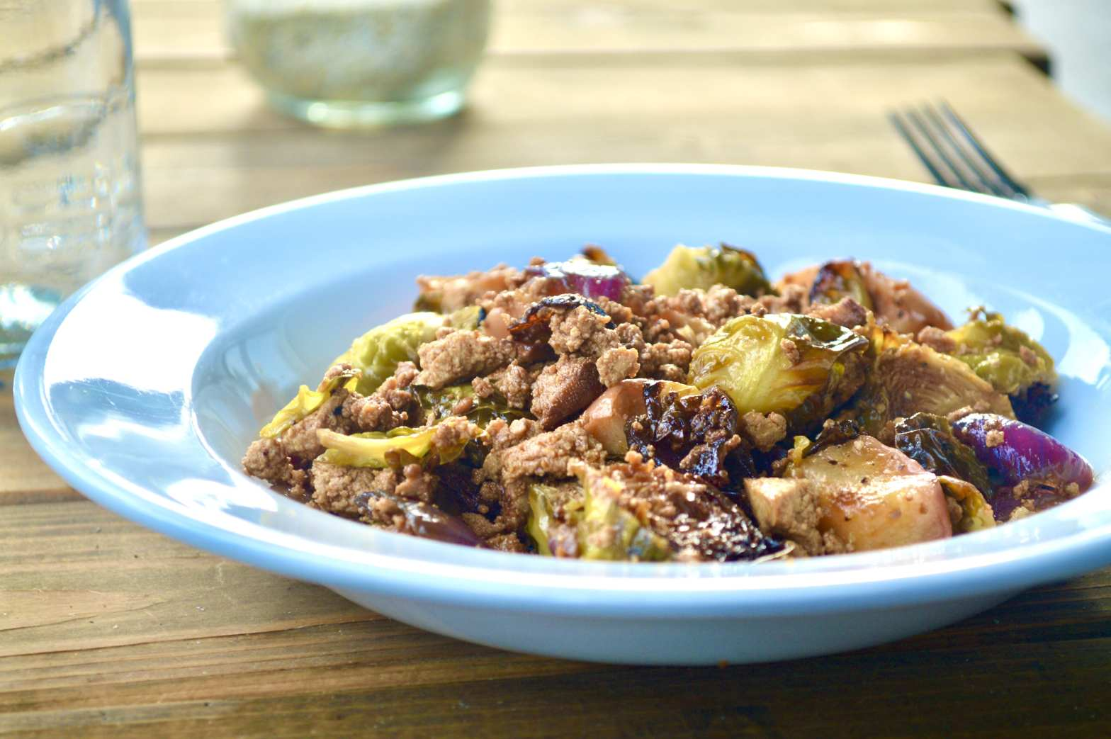 brussels sprouts with soy maple tofu