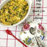Baked Orzo with Spinach, Corn & Asparagus