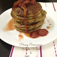 Honey-Cinnamon Whole-Wheat & Flax-seed Pancakes with Maple-Strawberry Compote