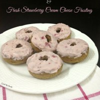 Baked Banana Donuts & Fresh Strawberry Cream Cheese Frosting ~ Healthier & Eggfree