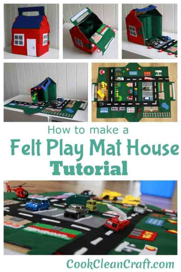 Felt Play Mat House Tutorial colagem