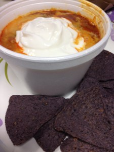 Chicken Chili with Blue Corn Tortilla Chips