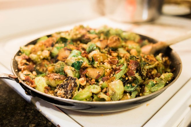 Brussles sprouts w bacon and roasted hazelnuts.