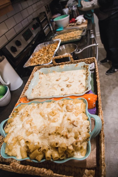 Thanksgiving Dinner number one, mac n'cheese, potatoes, and stuffing.