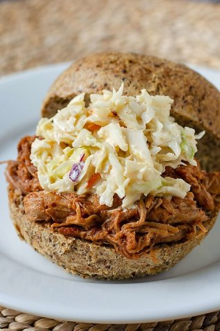 Easy Instant Pot pulled pork on keto bun with low carb coleslaw