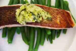 crispy skin salmon with wasabi coriander butter
