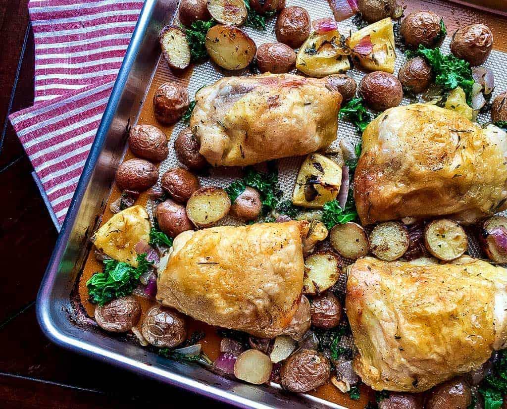 chicken tray bake, rosemary chicken tray bake