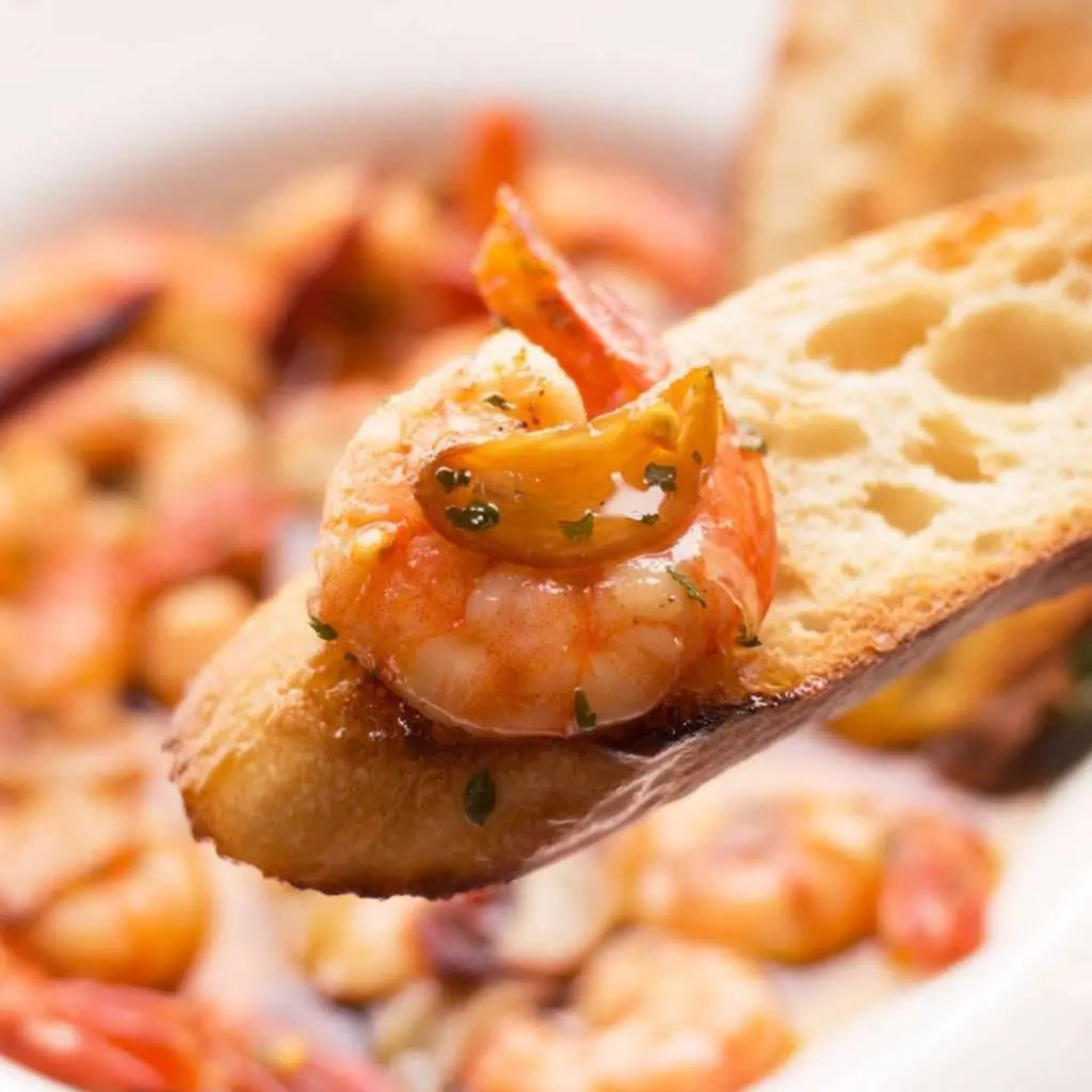 close-up photo of gambas al ajillo