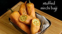 Stuffed mirchi bajji recipe – stuffed menasinakai bajji – milagai bajji recipe