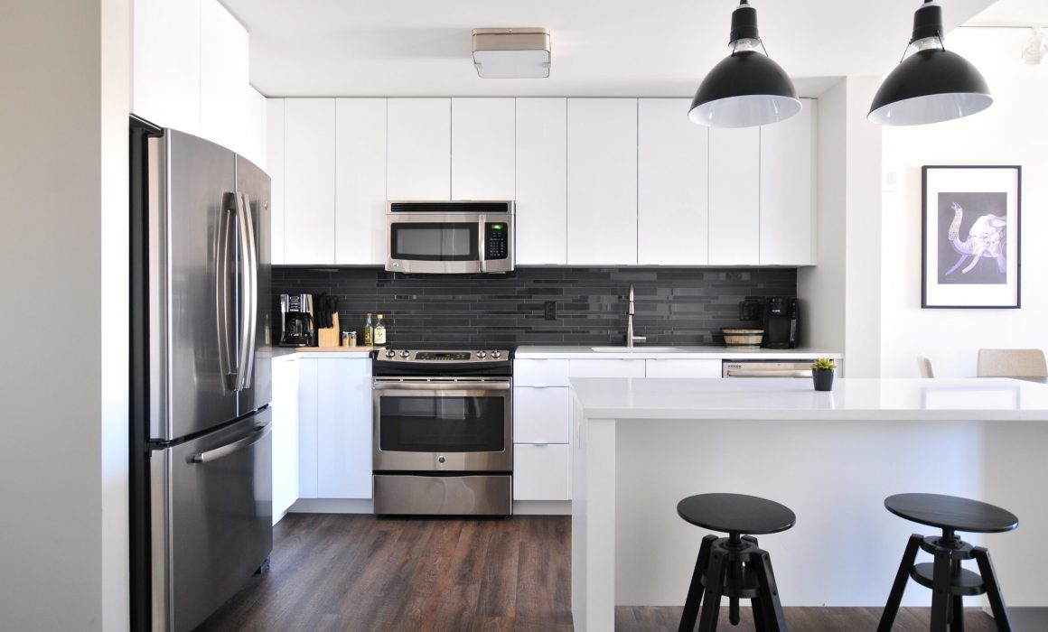A kitchen in a apartment building