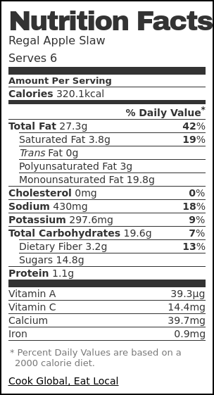 Nutrition label for Regal Apple Slaw