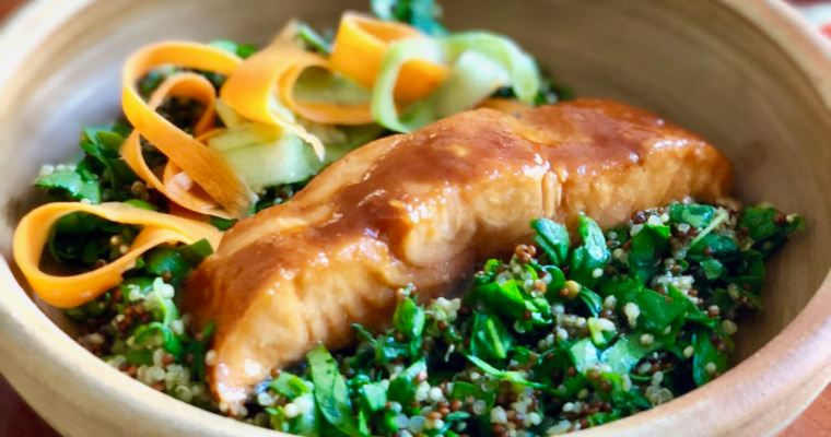 Miso Glazed Salmon Quinoa Bowls with Baby Spinach