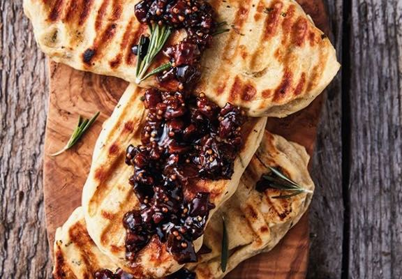 Bacon Jam on Braaied Rosemary Flatbreads, a Recipe from More Braai the Beloved Country