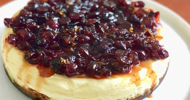 Instant Pot™ Ginger-Crusted Cranberry Orange Cheesecake
