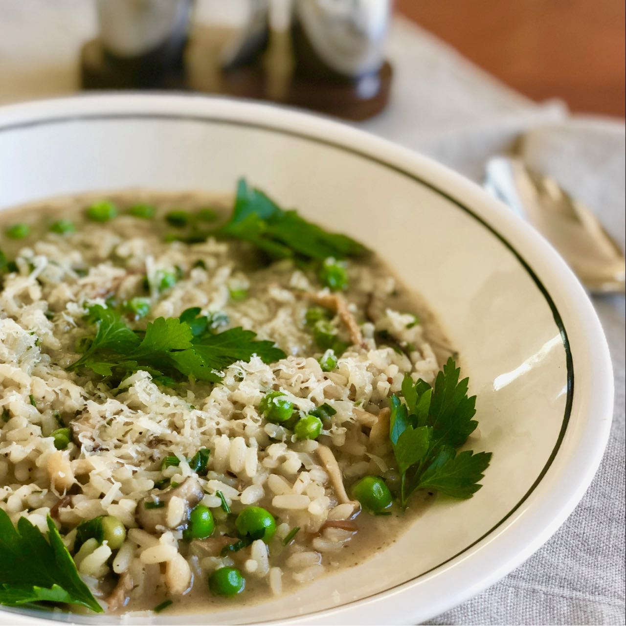 Instant Pot™ Wild Mushroom and Spring Pea Risotto