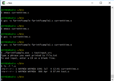 Appearance of Cygwin shell for running LINUX commands on a Windows 10 system