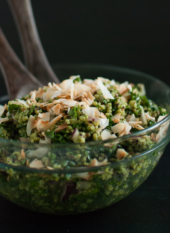 Coconut quinoa and kale with tropical pesto (vegan and gluten-free) - cookieandkate.com