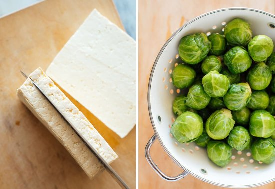 tofu and Brussels sprouts