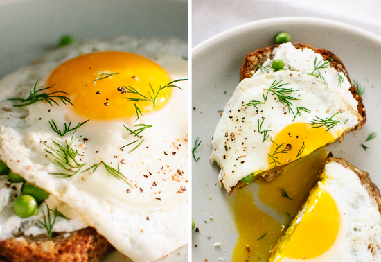 Simple Goat Cheese and Egg Toasts with Peas and Dill by Cookie + Kate